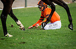 September 27 2014: Mike Smith goes down in a spill in the Rodeo Drive Stakes at Santa Anita Park in Arcadia CA. Alex Evers/ESW/CSM