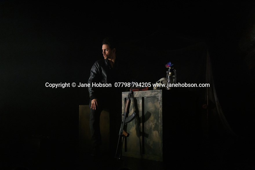 """London, UK. 27.02.20. Mark Bruce Company presents """"Return to Heaven"""", at Wilton's Music Hall. Written and choreographed by Mark Bruce, with costume design by Dorothee Brodruck, lighting design by Guy Hoare, and set design by Phil Eddolls. The dancers are: Jordi Calpe-Serrats, Eleanor Duval, Carina Howard, Dane Hurst, Sharol Mackenzie, Christopher Thomas. Picture shows: Dane Hurst. Photograph © Jane Hobson."""