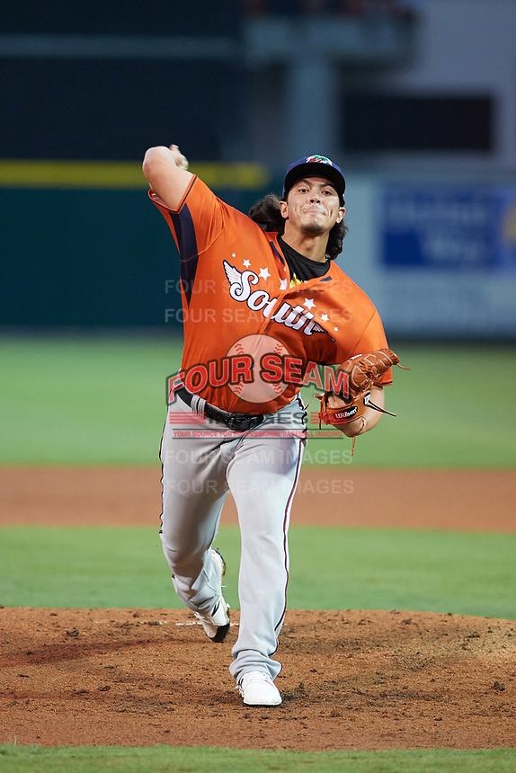 Fort Myers Miracle pitcher Dereck Rodriguez (34) delivers a warmup pitch in the bottom of the third inning during the Florida State League All-Star Game on June 17, 2017 at Joker Marchant Stadium in Lakeland, Florida.  FSL North All-Stars  defeated the FSL South All-Stars  5-2.  (Mike Janes/Four Seam Images)