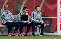 CARSON, CA - FEBRUARY 9: Vlatko Andonovski head coach of the United States looks on with his assistants during a game between Canada and USWNT at Dignity Health Sports Park on February 9, 2020 in Carson, California.