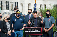 Comedian Jon Stewart, offers remarks during a press conference regarding legislation to assist veterans exposed to burn pits, outside the US Capitol in Washington, DC., Tuesday, September 15, 2020.  Standing at left is US Senator Kirsten Gillibrand (Democrat of New York).<br /> Credit: Rod Lamkey / CNP /MediaPunch