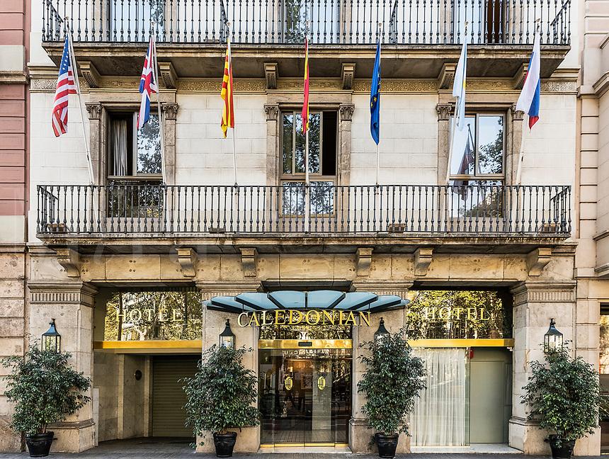 Hotel Caledonian exterior, Barcelona, Spain.