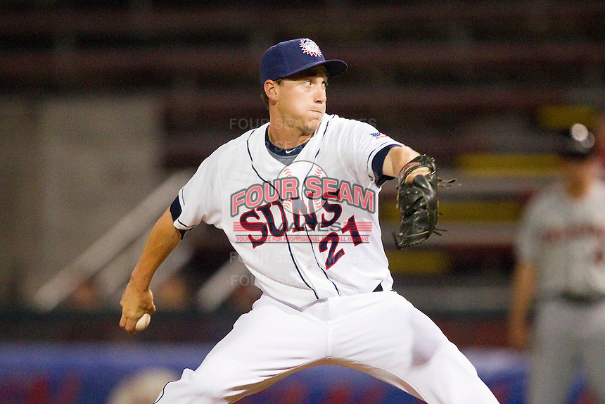 Hagerstown Suns relief pitcher Robert Benincasa (21) in action against the Delmarva Shorebirds at Municipal Stadium on April 11, 2013 in Hagerstown, Maryland.  The Shorebirds defeated the Suns 7-4 in 10 innings.  (Brian Westerholt/Four Seam Images)