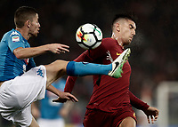 Calcio, Serie A: Roma, stadio Olimpico, 14 ottobre 2017.<br /> Roma's Lorenzo Pellegrini (r) in action with Napoli's Jorge Luiz Jorginho (l) during the Italian Serie A football match between Roma and Napoli at Rome's Olympic stadium, October14, 2017.<br /> UPDATE IMAGES PRESS/Isabella Bonotto