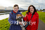 Julia and Noreen Deady and Pixie the dog enjoying a stroll in Blennerville on Friday.