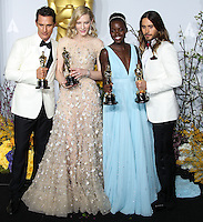HOLLYWOOD, LOS ANGELES, CA, USA - MARCH 02: Matthew McConaughey, Cate Blanchett, Lupita Nyong'o, Jared Leto at the 86th Annual Academy Awards - Press Room held at Dolby Theatre on March 2, 2014 in Hollywood, Los Angeles, California, United States. (Photo by Xavier Collin/Celebrity Monitor)