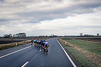 Due to stormy weather / strong winds, the race in ON almost from the get-go... and soon enough the peloton is chattered into echelons that will hold for the rest of the race.<br /> <br /> 44th AG Driedaagse Brugge-De Panne 2020 (1.UWT / BEL)<br /> 1 day race from Brugge to De Panne (203km shortened to 188km due to the windy weather conditions) <br /> <br /> ©kramon