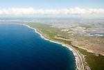 Aerial view of Road along the coast of Christmas Island (Kiritimati), Kiribati