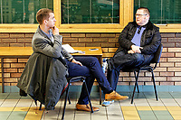 Pictured: (L-R) Stuart James speaks with (CHECK NAME). Thursday 18 January 2018<br /> Re: Players and staff of Newport County Football Club prepare at Newport Stadium, for their FA Cup game against Tottenham Hotspur in Wales, UK