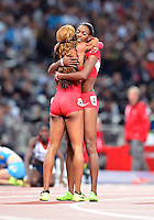 August 05, 2012..Sanya Richard-Ross and DeeDee Trotter embrace after winning Gold and Silver Medal in Wonem's 400m Final at the Olympic Stadium on day nine of 2012 Olympic Games in London, United Kingdom.