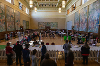 Pictured: A general view during the Swansea West and South West Wales Regional Election Count at Brangwyn Hall in Swansea, Wales, UK. Friday 07 May 2020
