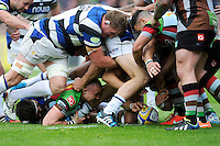 Mike Brown of Harlequins makes the ball available during the Aviva Premiership match between Harlequins and Bath Rugby at The Twickenham Stoop on Saturday 10th May 2014 (Photo by Rob Munro)