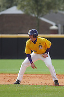 East Carolina University Pirates outfielder Jay Cannon #12 leading off 2nd base during a game against the Stony Brook Seawolves at Clark-LeClair Stadium on March 4, 2012 in Greenville, NC.  East Carolina defeated Stony Brook 4-3. (Robert Gurganus/Four Seam Images)