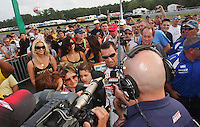 Mat Mladin celebrates his podium finish in the final event of his American Superbike career , the AMA Pro Superbike Championship weekend at New Jersey Motorsports Park, in Millville, NJ on Sunday, September 6, 2009.  (Photo by Brian Cleary/www.bcpix.com)