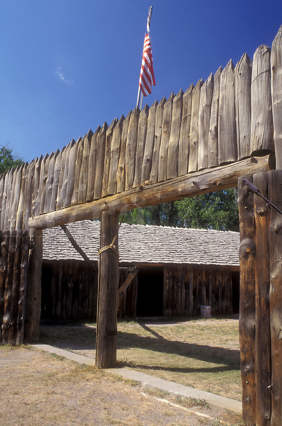 AJ0447, North Dakota, Fort Mandan Historic Site in Washburn. Lewis & Clark Winter Quarters 1804-1805.