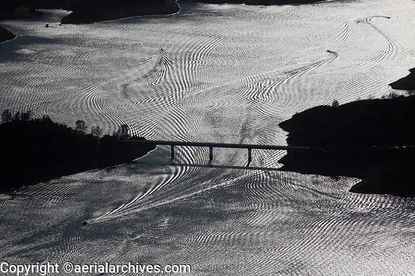 aerial photograph of power boat wakes at Lake Berryessa, Napa County, California