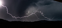 Lightning Strike in the mountains in the Okanagan Valley near Penticton British Columbia Canada