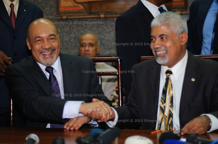 The President of Suriname Desi Bouterse (Desiré Delano Bouterse) (L) and The Vice President of Suriname Robert Ameerali  (R) during their first press conference after selected as  by De Nationale Assemblée (DNA) / The National Assemble...Desi Bouterse (Desiré Delano Bouterse) chosen as new president of Suriname by De Nationale Assemblée (DNA) / The National Assemble of Suriname. He took 36 votes of 51 as leader of the Mega Combination. ....Robert_Ameerali the head of KKF (Kamer van Koophandel en Fabrieken) / Chamber of Commerce and Industry also selected as Vice President.....Desi Bouterse (Desiré Delano Bouterse) will sworn at 3 August 2010