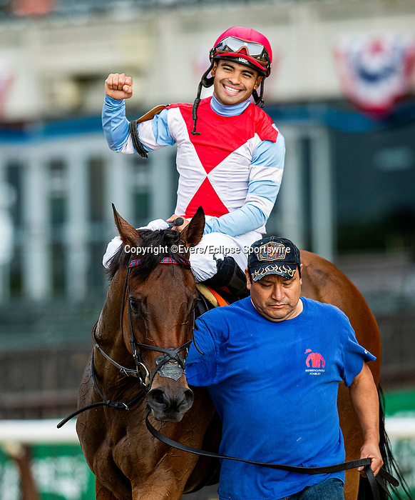 June 4, 2021:  Mean Mary with Luis Saez wins the New York Stakes at Belmont Park in Elmont, New York on June 4, 2021. Evers/Eclipse Sportswire/CSM