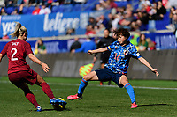 HARRISON, NJ - MARCH 08: Rachel Daly #2 of England battles for the ball with Asato Miyagawa #16 of Japan during a game between England and Japan at Red Bull Arena on March 08, 2020 in Harrison, New Jersey.