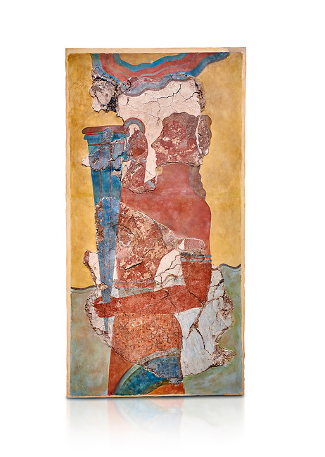 The Minoan 'Cup Bearer' from the 'Procession Fresco', wall art from the South Prpylaeum, Knossos Palace, 1500-1400 BC . Heraklion Archaeological Museum.  White Background. <br /> <br /> The 'Cup Bearer' depicts a youth with long black hair, a naked torso and a richly decorated kilt carrying a large silver rhuyhon ceremonial vessel. This large Minoan fresco of many figure in procession would have decorated the corridor between the West Porch and the South Propylaeum of Knossos Palace. Both sides of the corridor were painted with hundreds of male and femal;e figures carrying precious utensils and vessels, probably depicting gift bearers to the ruler of the Palace. The composition is much like those found in the Palaces and tombs of Egypt and the near east at the time. Neopalatial final period.