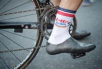 Adam Hansen selfmade carbon cycling shoes (108 gr)<br /> <br /> Tour de France 2013<br /> stage 16: Vaison-la-Romaine to Gap, 168km