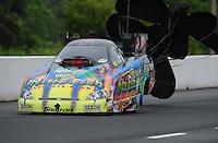 May 13, 2011; Commerce, GA, USA: NHRA funny car driver Tony Pedregon during qualifying for the Southern Nationals at Atlanta Dragway. Mandatory Credit: Mark J. Rebilas-