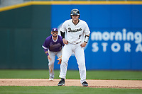 Brendan Tinsman (9) of the Wake Forest Demon Deacons takes his lead off of first base against the Furman Paladins at BB&T BallPark on March 2, 2019 in Charlotte, North Carolina. The Demon Deacons defeated the Paladins 13-7. (Brian Westerholt/Four Seam Images)