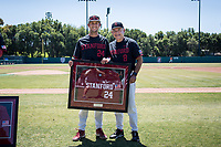 STANFORD, CA - MAY 29: Senior Nick Brueser, David Esquer before a game between Oregon State University and Stanford Baseball at Sunken Diamond on May 29, 2021 in Stanford, California.