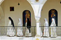 SYRIA, Melkite Greek Catholic monastery of St James the Mutilated in Qara in the dicesese of Homs, nuns  /SYRIEN Kloster in Qara in der Diozese von Homs, Melkite Greek Catholic monastery of St James the Mutilated in Qara, Nonnen