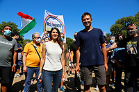 The mayor of Rome Virginia Raggi and the former deputy of Movement 5 Stars Alessandro Di Battista during a picnic at Caffarella park, in occasion of the election campaign for the new mayor of the city.<br /> Rome (Italy), September 12th 2021<br /> <br /> Photo Samantha Zucchi Insidefoto