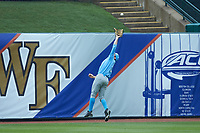 North Carolina Tar Heels center fielder Brian Miller (5) makes a running catch during the game against the Boston College Eagles in Game Five of the 2017 ACC Baseball Championship at Louisville Slugger Field on May 25, 2017 in Louisville, Kentucky. The Tar Heels defeated the Eagles 10-0 in a game called after 7 innings by the Mercy Rule. (Brian Westerholt/Four Seam Images)