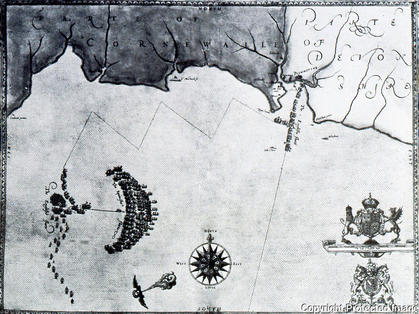 Maps:  The First Spanish Armada--Progress  #1, Sat. 20 July, 1586,  Plymoutn pursued by English Fleet.