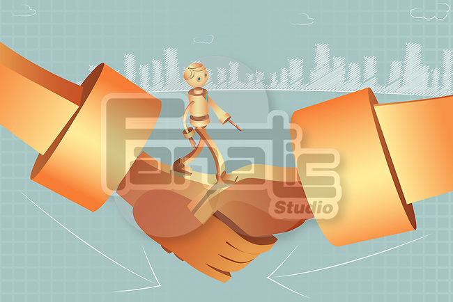 Illustrative image of robotic businessman walking on handshake representing merger