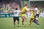 Australia vs Fiji during their Cup Semi-final as part of the HSBC Hong Kong Rugby Sevens 2017 on 09 April 2017 in Hong Kong Stadium, Hong Kong, China. Photo by Marcio Rodrigo Machado / Power Sport Images