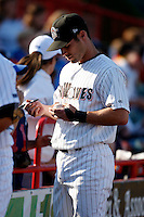 May 30, 2009:  Second Baseman Scott Sizemore of the Erie Seawolves signs autographs before a game at Jerry Uht Park in Erie, PA.  The Seawolves are the Double-A Eastern League affiliate of the Detroit Tigers.  Photo By Mike Janes/Four Seam Images
