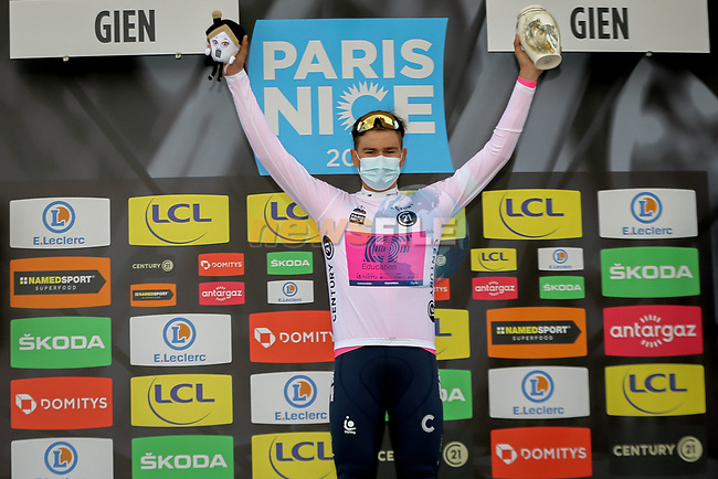 Stefan Bissegger (SUI) EF Education-Nippo wins Stage 3 and also takes over the young riders White Jersey of Paris-Nice 2021, an individual time trial running 14.4km around Gien, France. 9th March 2021.<br /> Picture: ASO/Fabien Boukla   Cyclefile<br /> <br /> All photos usage must carry mandatory copyright credit (© Cyclefile   ASO/Fabien Boukla)