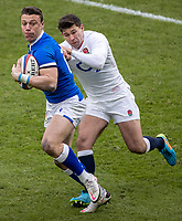 13th February 2021; Twickenham, London, England; International Rugby, Six Nations, England versus Italy; Paolo Garbisi of Italy is tackled by Ben Youngs of England