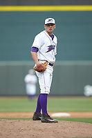 Winston-Salem Dash relief pitcher Kyle Kubat (1) looks to his catcher for the sign against the Salem Red Sox at BB&T Ballpark on April 22, 2018 in Winston-Salem, North Carolina.  The Red Sox defeated the Dash 6-4 in 10 innings.  (Brian Westerholt/Four Seam Images)
