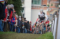 Lubomir Petrus (CZE) leading in the first lap<br /> <br /> Vlaamse Druivencross Overijse 2013