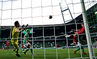 18th May 2020, WESERSTADION, Bremen, Germany; Bundesliga football, Werder Bremen versus Bayer Leverkusen;  Leverkusen's Kai Havertz (r) scores for 0:1 for Leverkusen against Bremen's goalkeeper Jiri Pavlenka with a climbing header