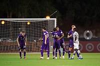 LAKE BUENA VISTA, FL - JULY 25: Orlando City SC celebrates a win during a game between Montreal Impact and Orlando City SC at ESPN Wide World of Sports on July 25, 2020 in Lake Buena Vista, Florida.