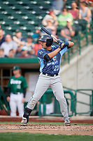 West Michigan Whitecaps first baseman Jordan Pearce (20) at bat during a game against the Fort Wayne TinCaps on May 17, 2018 at Parkview Field in Fort Wayne, Indiana.  Fort Wayne defeated West Michigan 7-3.  (Mike Janes/Four Seam Images)