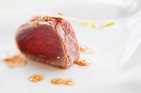 Europe/France/Rhône-Alpes/74/Haute-Savoie/Le Grand-Bornand: Sushi de thon rouge en habit de jambon fumé, Recette de Jean-Sébastien Faber et Anthony Burricand, restaurant: Les Confins des Sens