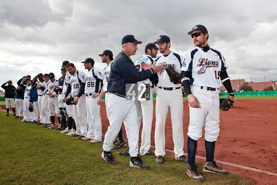 16 October 2010: Team Savigny is seen during the players introduction prior to Rouen 16-4 win over Savigny, during game 1 of the French championship finals, in Savigny sur Orge, France.