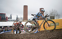 Wout Van Aert (BEL/Crelan-Willems) ahead of Mathieu Van der Poel (NED/Beobank-Corendon) up the stairs<br /> <br /> Elite Men's Race<br /> UCI 2017 Cyclocross World Championships<br /> <br /> january 2017, Bieles/Luxemburg