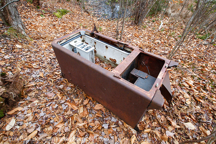 Servel Gas Refrigerator from the abandoned cabin settlement surrounding Elbow Pond in Woodstock, New Hampshire USA. These types of Servels were used in hunting cabins, cottages and remote areas where there was no electricity.