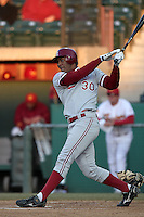 Austin Wilson of the Stanford Cardinal bats against the USC Trojans at Dedeaux Field in Los Angeles,California on April 8, 2011. Photo by Larry Goren/Four Seam Images