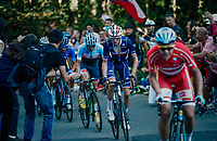 Michael Valgren (DEN/Astana) about to get caught by Romain Bardet (FRA/AG2R-LaMondiale) after going solo in the final lap up the ridiculously steep Hôll Climb in the final lap<br /> <br /> MEN ELITE ROAD RACE<br /> Kufstein to Innsbruck: 258.5 km<br /> <br /> UCI 2018 Road World Championships<br /> Innsbruck - Tirol / Austria