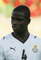 Ghana's Jonathan Mensah (4) stands on the field before the match against South Korea during the FIFA Under 20 World Cup Quarter-final match the Mubarak Stadium  in Suez, Egypt, on October 09, 2009.